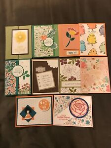 Stampin Up 10 Handmade Cards w Envelopes. Birthday Hello For You Misc.
