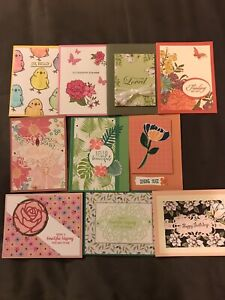 Stampin Up 10 Handmade Cards w Envelopes. Birthday Hello For You ThanksMisc.