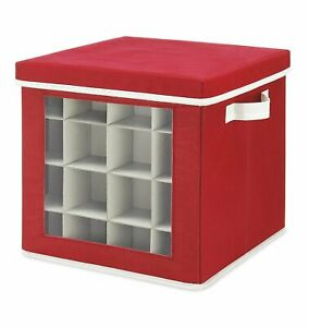 Holiday Ornaments Storage Box Cube with 64 Individual Compartments in Red $16.87