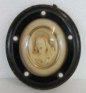 Antique Bust of Christ hand carved meerschaum sea foam oval cameo 19th C. $120.00