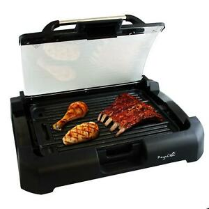 1200W Smokeless Electric Grill Power Non Stick Indoor BBQ Removable Glass Lid