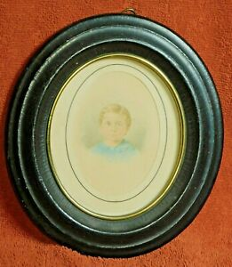 Antique Miniature Portrait Sandy Hair Blue Eyes Boy Early Victorian Painting OLD $99.00