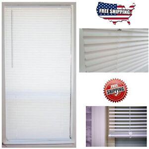 Cordless 1 in. Vinyl Mini Blind Window Shade 64 Length All Size Width Indoor $11.49