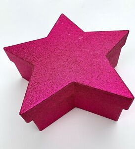 Star shape gift box large pink glitter covered with lid