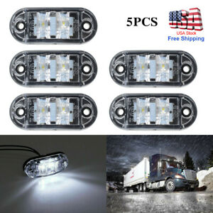 5Pcs LED Car Truck Trailer RV Oval 2.5quot; Side Clearance Marker Lights Clear White