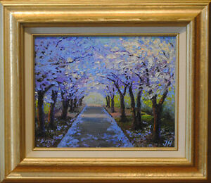 Flowering cherries alley. Original framed oil on canvas 8quot;x10quot; painting. $150.00