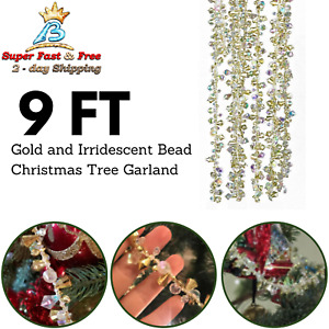 Bead Christmas Tree Garland For Holidays And New Years Crystal Decor Chain 9 FT $21.65