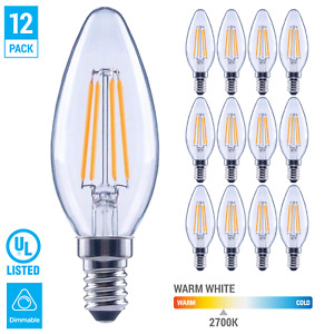 12 Pack LED 60W Chandelier Filament B11 Clear Bulb Candelabra E12 Warm White