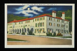 1930s Lake Lure Inn by Moonlight Lake Lure NC Rutherford Co Postcard