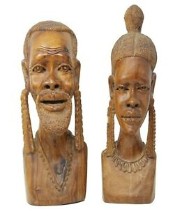 Vintage African Hand Carved Wood Sculptures MAN WOMAN Busts Statues Set 15.5quot; $210.00