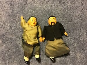 2 Vintage 6quot; Composite Chinese Dolls: Authentic Clothing: Cloth Body $24.00