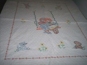 Raggedy Ann and Andy hand embroidered child#x27;s quilt cute animals and flowers $11.00