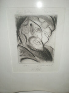 Abstract Etching Portrait of Rabbi signed dated titled quot;rabbiquot; S Wei.. . $125.00