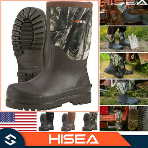 HISEA Men#x27;s Boots Mid Calf Working Boots Insulated Rain Snow Muck Hunting Boots