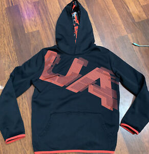 Boys Youth Under Armour Cold Gear Loose Fit Pullover Hoodie YXL XL Patterned $14.00