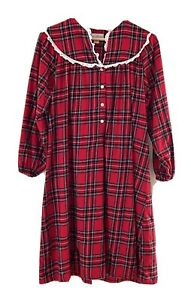 Vintage LANZ of SALZBURG Red Plaid Cotton Flannel Nightgown Christmas Small 40� $24.99