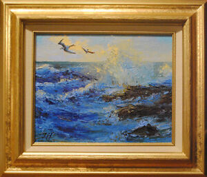 Waves. Original framed oil on canvas 8quot;x10quot; impressionistic seascape painting $165.00
