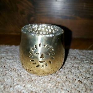 Set of 10 Vintage Solid Brass Sun Votive Candle Holders w Glass Liners New $59.00