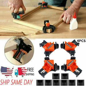 4Pcs Kit 90 Degree Right Angle Clip Clamps Corner Holders Woodworking Hand Tools $13.49