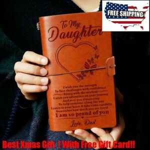 To My Daughter From Dad Mom Engraved Leather Journal Notebook Diary Xmas Gift
