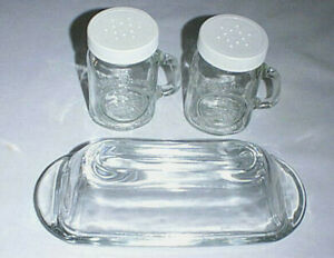 GOLDEN HARVEST Clear Glass Salt Pepper Shakers and Glass Covered Butter Dish
