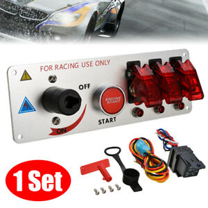 12V Auto LED Toggle Ignition Switch Panel Racing Car Engine Start Push Set Kit T $28.99