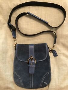 COACH Purse Excellent Condition Blue Suede Free Shipping