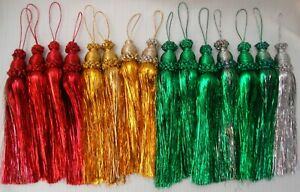 Vintage Tinsel Tassel Christmas Ornaments Lot of 15 Red Green Gold