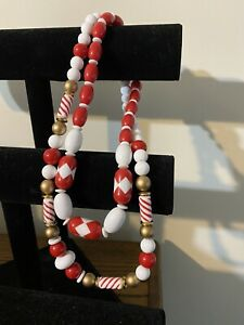 Vintage Mod Plastic Bead Necklace Statement Red White Set D6
