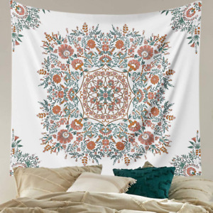 Mandala Flower Tapestry Wall Hanging Bohemian Hippie White Tapestry Sketched F $10.24