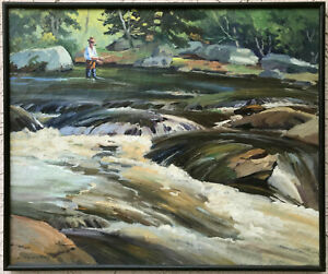 OIL PAINTING River TROUT FISHING ON THE NATCHAUG Gordon Harris IMPRESSIONIST
