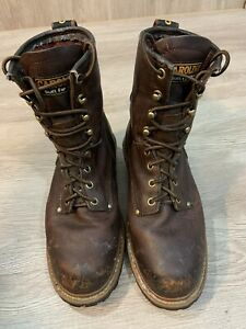 Mens Size 7 W CA1421 Carolina Steel Toe Safety Work Boots Brown Leather