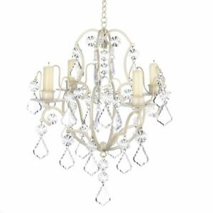 Ivory Baroque Taper Candle Holder Chandelier Crystal Decor Light Candles Hanging $46.00