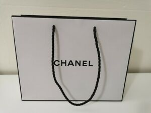 CHANEL Logo Empty White Black Shopping Gift Paper Bag 10quot;x8quot;x3quot; Designer USED $8.99