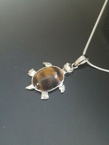 Tiger#x27;s Eye Turtle Necklace Gemstone Pendant on Sterling Silver Chain