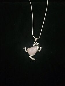 Rose Quartz Frog Necklace Gemstone Pendant on Sterling Silver Chain