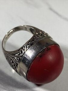 VINTAGE SIZE 7.5 STERLING SILVER TRIBAL RING CINNABAR DOME