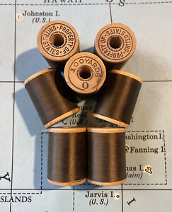 VTG Thread 7x Sewing Spools Army Green Property Of 100 Yards Wooden 40s 50s $11.97
