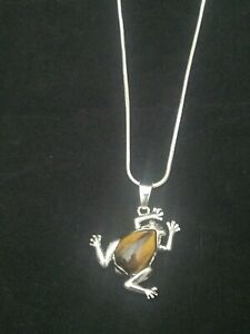 Tigers Eye Frog Necklace Gemstone Pendant on Sterling Silver Chain