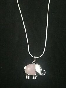 Rose Quartz Elelphant Necklace Gemstone Pendant on Sterling Silver Chain