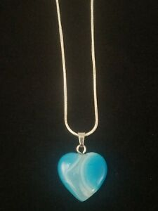 Blue Onyx Heart Necklace Gemstone Pendant on Sterling Silver Chain