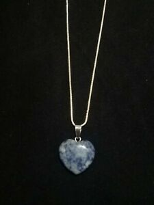 Sodalite Heart Necklace Gemstone Pendant on Sterling Silver Chain