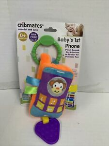Cribmates Baby's 1st Phone Plush Squeak Mirror Soft Colorful Teether