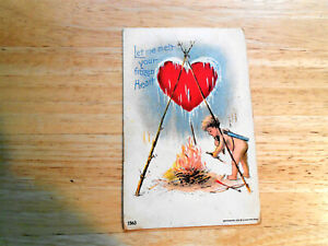 1907 LET ME MELT YOUR FROZEN HEART WITH CUPID AND FIRE UNDER LARGE HEART $5.00