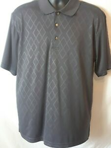 2 Under Mens Polo Shirt Size L Gray Diamond Pattern Front Short Sleeve Polyester $12.99
