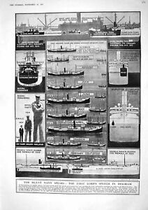 Old 1917 Navy Lord Diagrams Ships Sunk Eric Geddes Orlando Alhucemas 20th GBP 20.00
