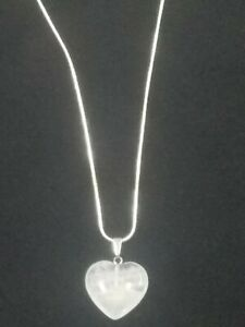 Quartz Heart Necklace Gemstone Pendant on Sterling Silver Chain