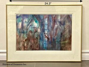 Vintage Watercolor on Paper Abstract Painting Signed Pappin $90.00