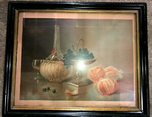 Antique Early Chromolithograph Fruit Wine Framed Still Life Print 1874 $99.00