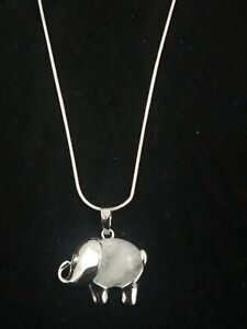 Quartz Elephant Necklace Gemstone Pendant on Sterling Silver Chain